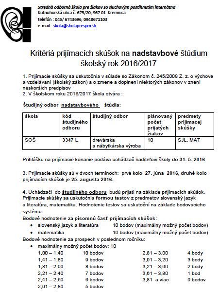 Kritériá prijímacích skúšok na nadstavbové štúdium školský rok 2016/2017